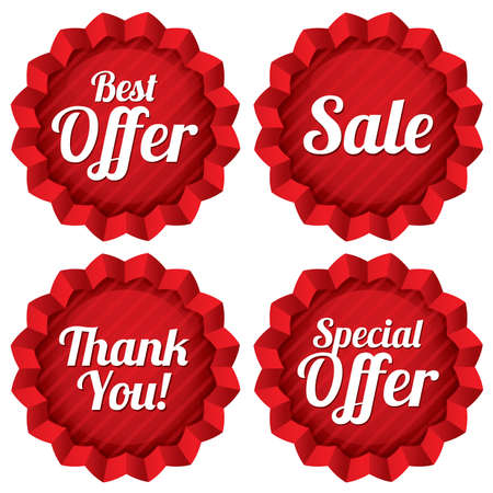 Colorful sale, best offer, special offer, thank you tags set. Red label stars. Icons for special offer.