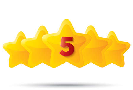 Five golden stars with digit. Star icons on white background. Five-pointed shiny star for rating. Rounded corners.  Vector