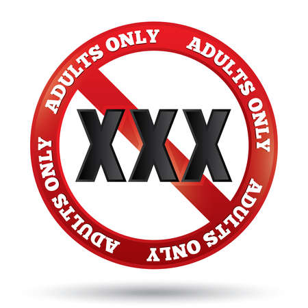 XXX adults only content sign. Vector button. Age limit icon. Prohibition sign isolated on white.  Vector