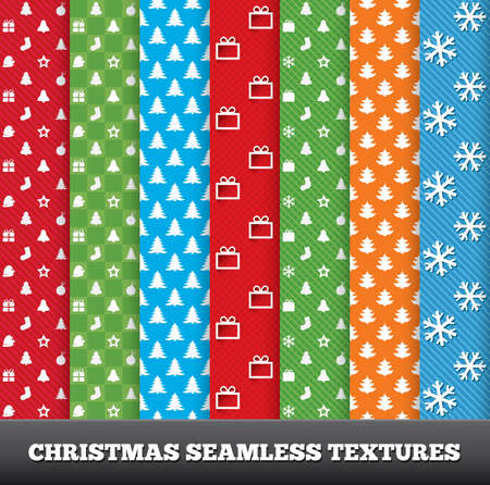 7 Merry christmas vector seamless patterns. Set of christmas textures. New year endless textures for your design. Vector