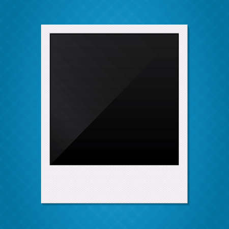 Blank retro photo frame. Vector illustration. Empty photo frame on blue background. Vector