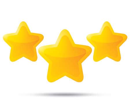 estrellas cinco puntas: Tres estrellas de oro. Iconos de estrella sobre fondo blanco. Cinco-acentuada de la estrella brillante para la calificaci�n. Esquinas redondeadas.