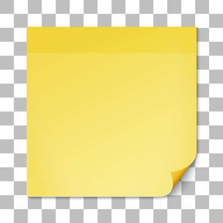 yellow note: Yellow stick note on transparent texture background. Removable self-stick note. Vector illustration.
