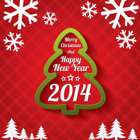 Merry Christmas tree greeting card. Merry Christmas and Happy New Year lettering. Applique background. Vector illustration. 2014. Stock Vector - 23436619