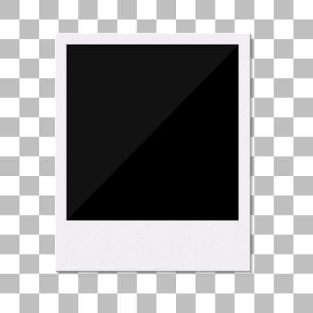 Blank retro photo frame. Vector illustration. Empty photo frame on transparent texture background.