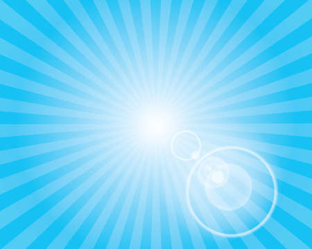 Sun Sunburst Pattern with lens flare. Blue sky background. Vector illustration. Ilustrace