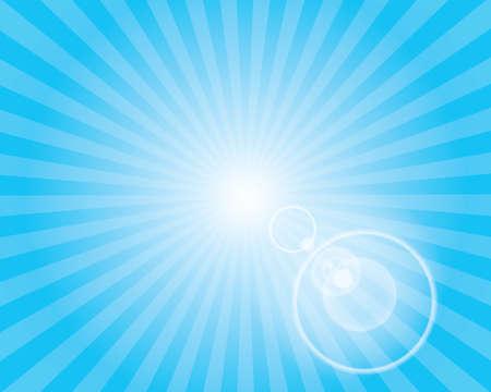 Zon Zonnestraal Patroon met lens flare. Blauwe hemel achtergrond. Vector illustratie.