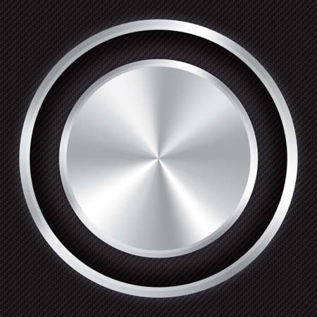 Metallic button on Carbon fiber background. Realistic metallic icon with gradient. Seamless texture. photo