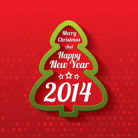 Merry Christmas tree greeting card. Christmas and Happy New Year lettering. Applique background. 2014. Stock Photo - 23573903
