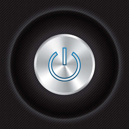 Power button on Carbon fiber background. Realistic metallic icon with gradient. Seamless texture. photo