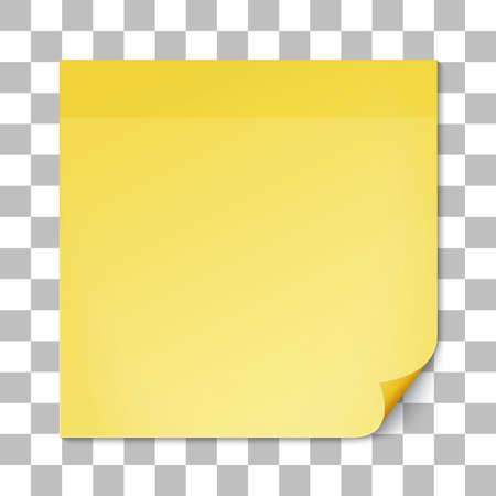 Geel houden noot op transparante textuur achtergrond. Verwijderbare zelfklevende note. Illustratie. Stockfoto