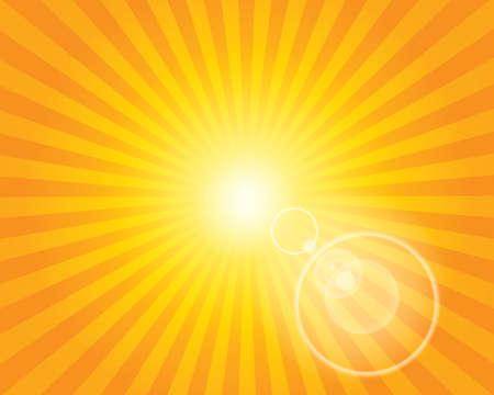 sunburst: Sun Sunburst Pattern with lens flare. Orange sky background. Vector illustration. Illustration