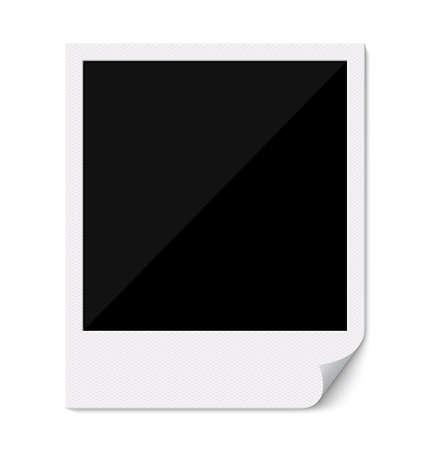 Blank retro  photo frame with curved corner. Illustration. Empty photo frame on white background.
