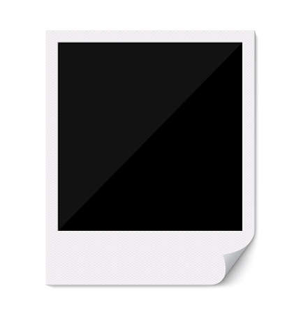 Blank retro  photo frame with curved corner. Illustration. Empty photo frame on white background. illustration