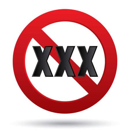 XXX adults only content sign. Vector button. Age limit icon. Prohibition sign isolated on white.  Stock Vector - 23575972