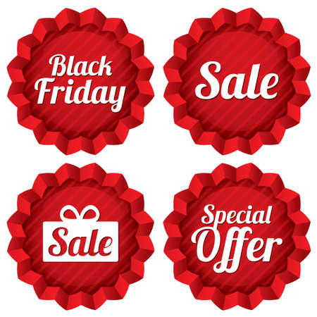 Colorful black friday, sale, special offer labels set. Red tag stars. Icons for special offer. Vector