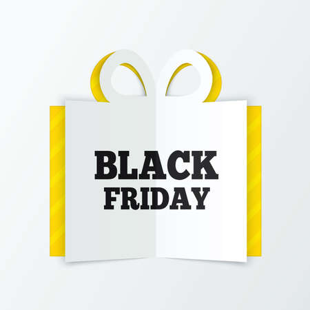 Black friday sale box cut the paper. Cutout paper gift box greeting card. Vector illustration. Christmas sale. Stock Vector - 23575976