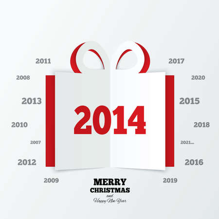 Christmas gift box cut the paper. New year 2014. Cutout paper gift box greeting card. Vector. Merry Christmas and Happy New Year. Vector