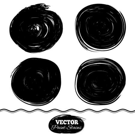 daub: Black paint spots vector set. Ink brush Circle border set. Illustration