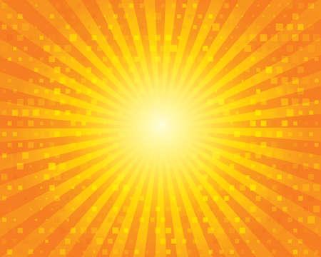 Sun Sunburst Pattern with squares. Orange sky background. Vector illustration. Vector