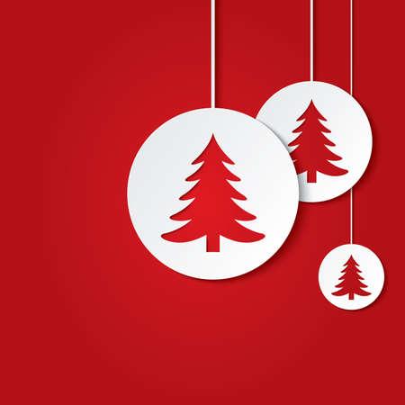 クリスマス ツリーとクリスマス ボール。切り抜き紙グリーティング カード。  イラスト・ベクター素材