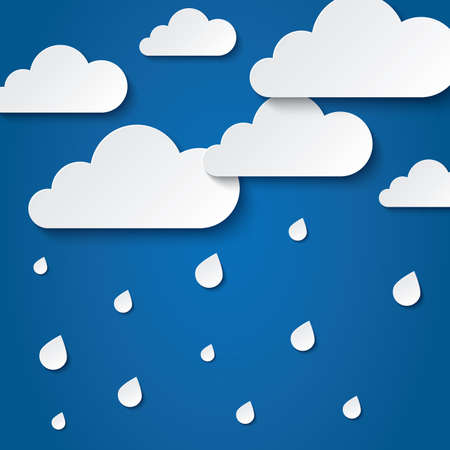 rainy day: Paper white clouds on blue background. Paper raindrops. Rainy day. Abstract background with clouds and rain. Paper drops. Flat icons.