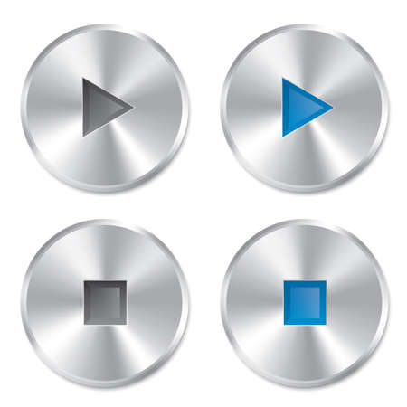 Realistic metallic Play and Stop player buttons. Round buttons set. Isolated on white background. Illustration. Stock Illustration - 24018200