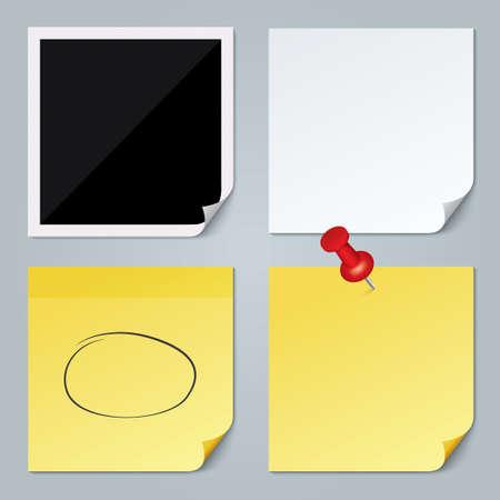yellow pushpin: Photo frame, white paper, yellow stick note set. Red Pushpin and speech bubble. Removable self-stick note. Illustration. Stock Photo