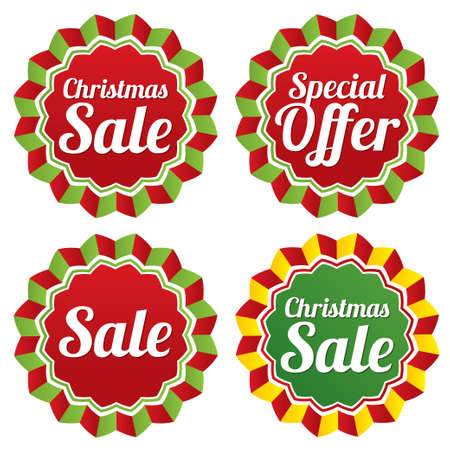 Christmas sale, special offer labels set. New year tag stars. Icons for special offer. Black friday. Vector