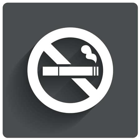 no fumar: Muestra de no fumadores. No aparece el icono de humo. Deje de fumar símbolo. Ilustración del vector. Cigarrillo con punta de filtro. Icono para lugares públicos.