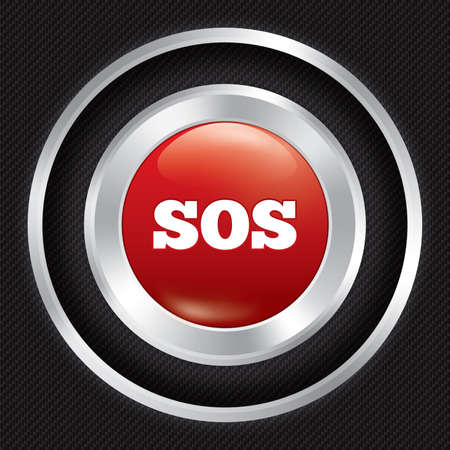 Sos button. Metallic icon on Carbon fiber background. Seamless texture. Vector illustration. Vector