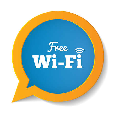 Wifi speech bubble. Free wifi symbol. Wireless Network icon. Wifi zone. Vector