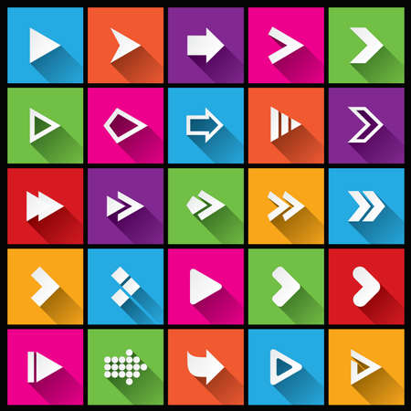 Arrow sign icon set. Simple square shape buttons. Flat icons for Web and Mobile App. 25 metro style buttons. Cut from paper. photo