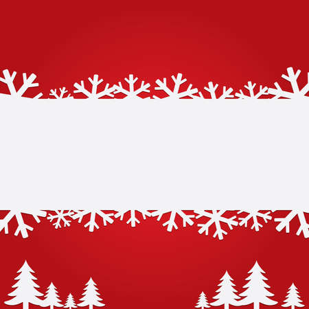 Christmas background with paper snowflakes and trees. Flat icons. Illustration. illustration