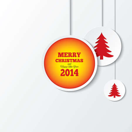 Christmas balls with christmas trees. New year 2014. Cut the paper background. Cutout paper greeting card. Illustration. Stock Illustration - 24346194