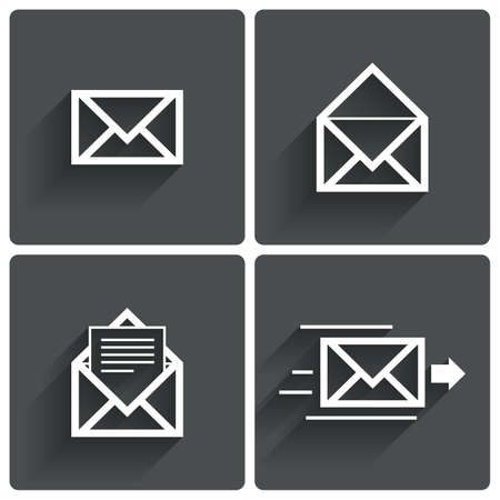 spam mail: Mail icons. Mail delivery symbol. Letter in envelope. Set of signs for messages. Illustration.