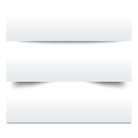 separators: Paper shadows. Collection of white note papers. Paper separators, dividers. Page delimiters. Illustration.