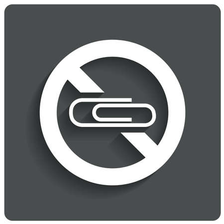 prohibiting: Icon fot printer. Do not put papers with clips (staple) in printer. Prohibiting sign. Vector illustration.