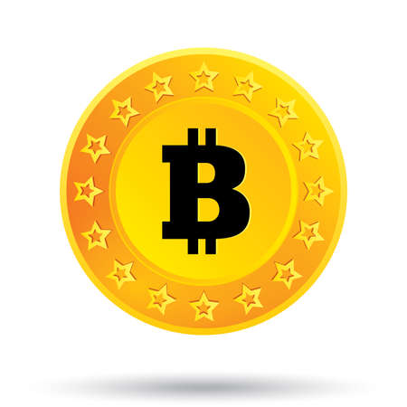 open source: Bitcoin icon. Innovative cryptography currency. Open source P2P (peer-to-peer) payment network. Digital money for internet business. .