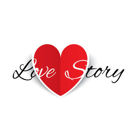 Love story paper heart sign. Red paper heart Valentines day card.  illustration illustration