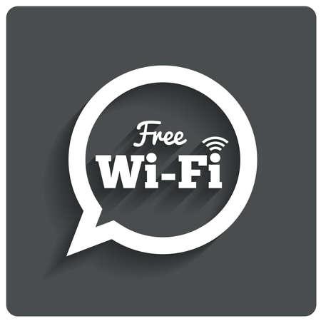 wifi: Free wi-fi icon. Wifi speech bubble. Wireless Network symbol. Wifi zone. Flat icons. .