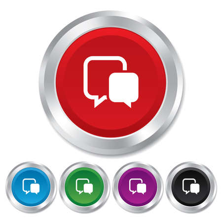 Chat sign icon. Speech bubble symbol. Communication chat bubble. Round metallic buttons. Vector Vector