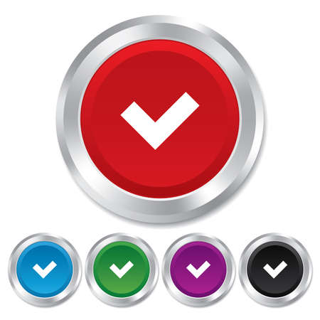 check sign: Check sign icon. Yes button. Round metallic buttons. Vector