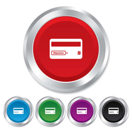 cashless payment: Credit card sign icon. Debit card symbol. Virtual money. Round metallic buttons. Vector