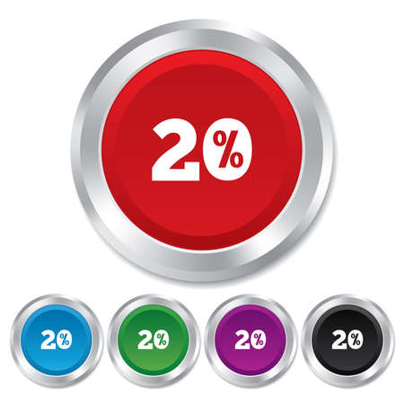 20 percent discount sign icon. Sale symbol. Special offer label. Round metallic buttons. Vector Vector