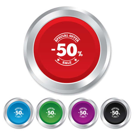 50 percent discount sign icon. Sale symbol. Special offer label. Round metallic buttons. Vector Vector