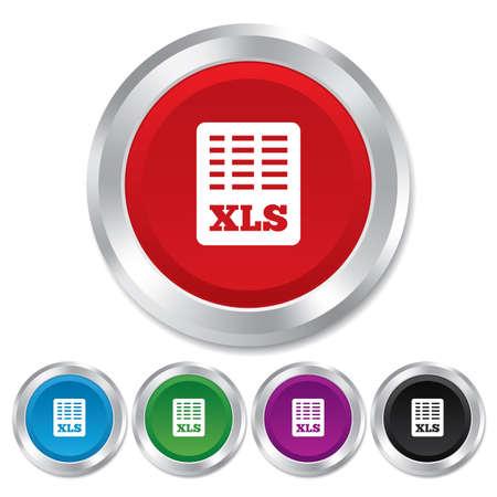 sobresalir: Icono de documento de archivo de Excel. Descarga bot�n xls. S�mbolo de archivo XLS. Botones redondos met�licos. Vector