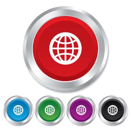 Icona Globo segno. Simbolo mondiale. Bottoni metallici rotondi. Vettore