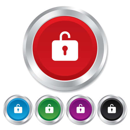 Lock sign icon. Login symbol. Round metallic buttons. Vector Vector