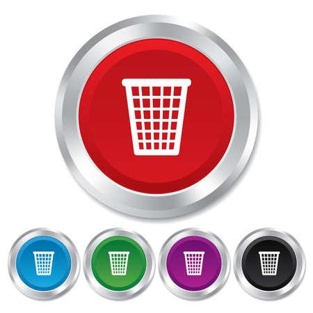 utilization: Recycle bin sign icon. Bin symbol. Round metallic buttons. Vector Illustration